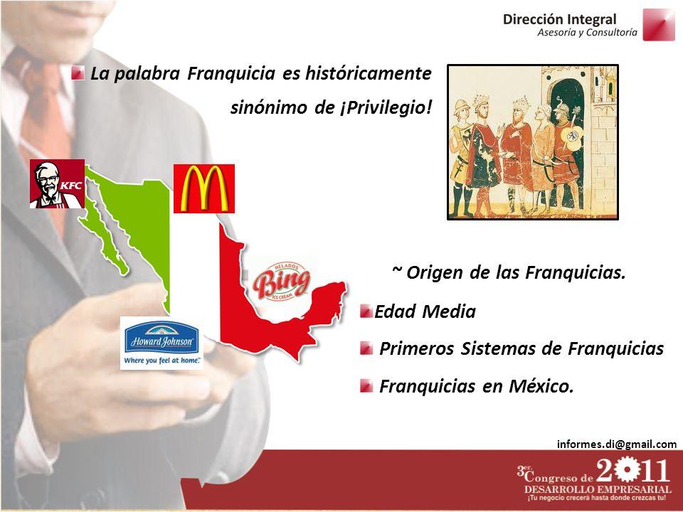 informes.di@gmail.com La palabra Franquicia es históricamente sinónimo de ¡Privilegio! Edad Media Primeros Sistemas de Franquicias Franquicias en Méxi