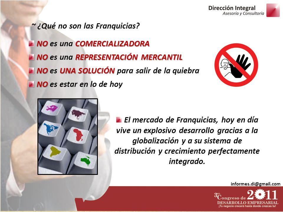 informes.di@gmail.com NOCOMERCIALIZADORA NO es una COMERCIALIZADORA NOREPRESENTACIÓN MERCANTIL NO es una REPRESENTACIÓN MERCANTIL NOUNA SOLUCIÓN NO es UNA SOLUCIÓN para salir de la quiebra NO NO es estar en lo de hoy ~ ¿Qué no son las Franquicias.