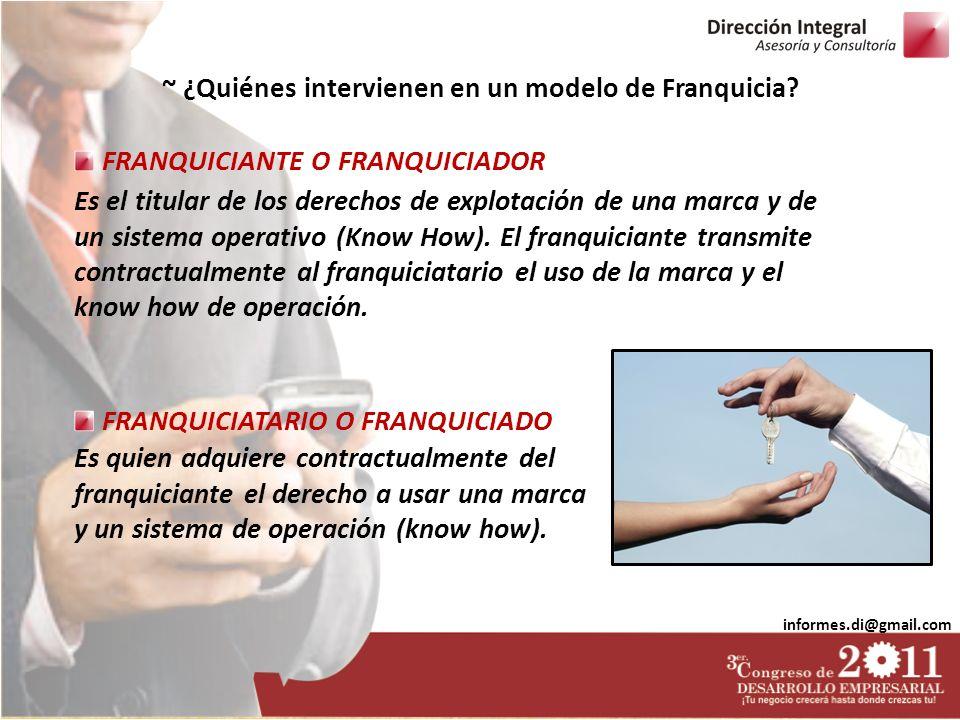 informes.di@gmail.com ~ ¿Quiénes intervienen en un modelo de Franquicia? FRANQUICIATARIO O FRANQUICIADO FRANQUICIANTE O FRANQUICIADOR Es el titular de