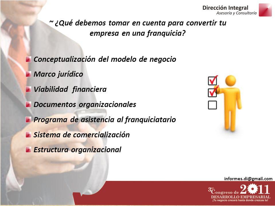 informes.di@gmail.com Conceptualización del modelo de negocio Marco jurídico Viabilidad financiera Documentos organizacionales Programa de asistencia