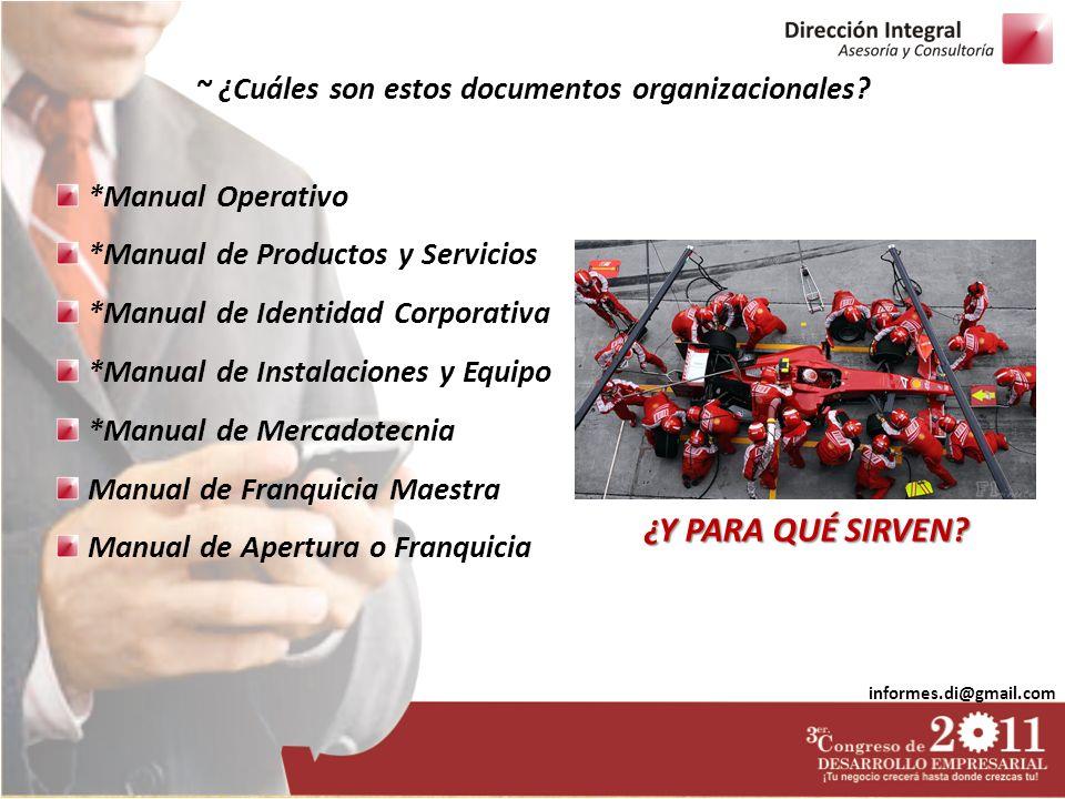 informes.di@gmail.com *Manual Operativo *Manual de Productos y Servicios *Manual de Identidad Corporativa *Manual de Instalaciones y Equipo *Manual de
