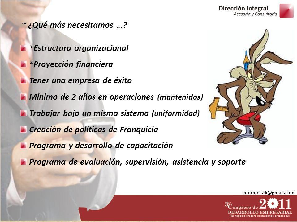 informes.di@gmail.com *Estructura organizacional *Proyección financiera Tener una empresa de éxito Mínimo de 2 años en operaciones (mantenidos) Trabaj