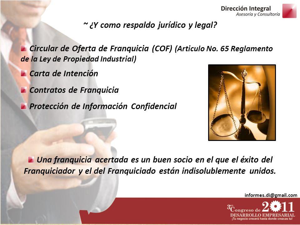 informes.di@gmail.com Circular de Oferta de Franquicia (COF) (Articulo No. 65 Reglamento de la Ley de Propiedad Industrial) Carta de Intención Contrat