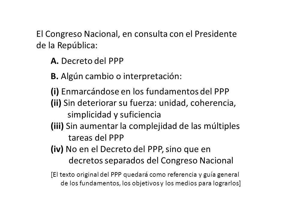 El Congreso Nacional, en consulta con el Presidente de la República: A. Decreto del PPP B. Algún cambio o interpretación: (i) Enmarcándose en los fund