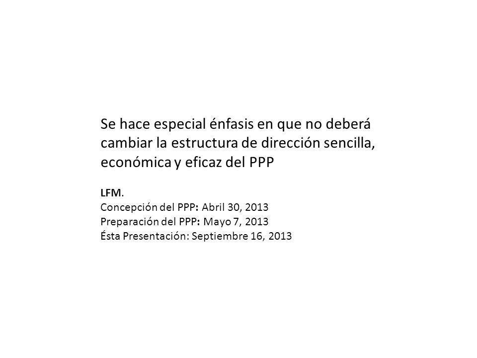 Se hace especial énfasis en que no deberá cambiar la estructura de dirección sencilla, económica y eficaz del PPP LFM. Concepción del PPP: Abril 30, 2