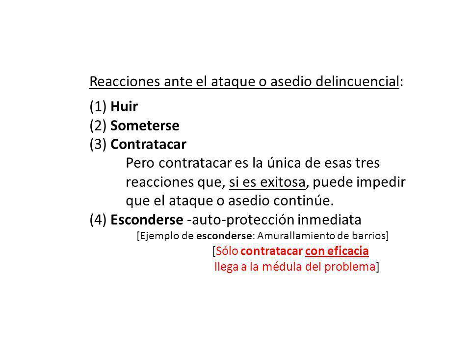 Reacciones ante el ataque o asedio delincuencial: (1) Huir (2) Someterse (3) Contratacar ……….Pero contratacar es la única de esas tres ……….reacciones