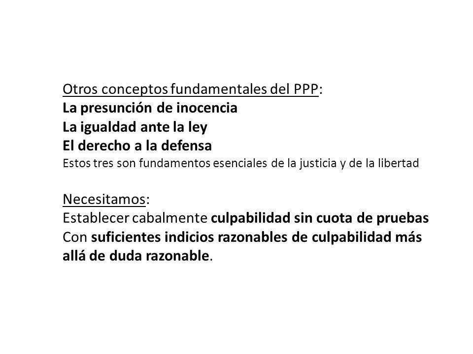 Otros conceptos fundamentales del PPP: La presunción de inocencia La igualdad ante la ley El derecho a la defensa Estos tres son fundamentos esenciale