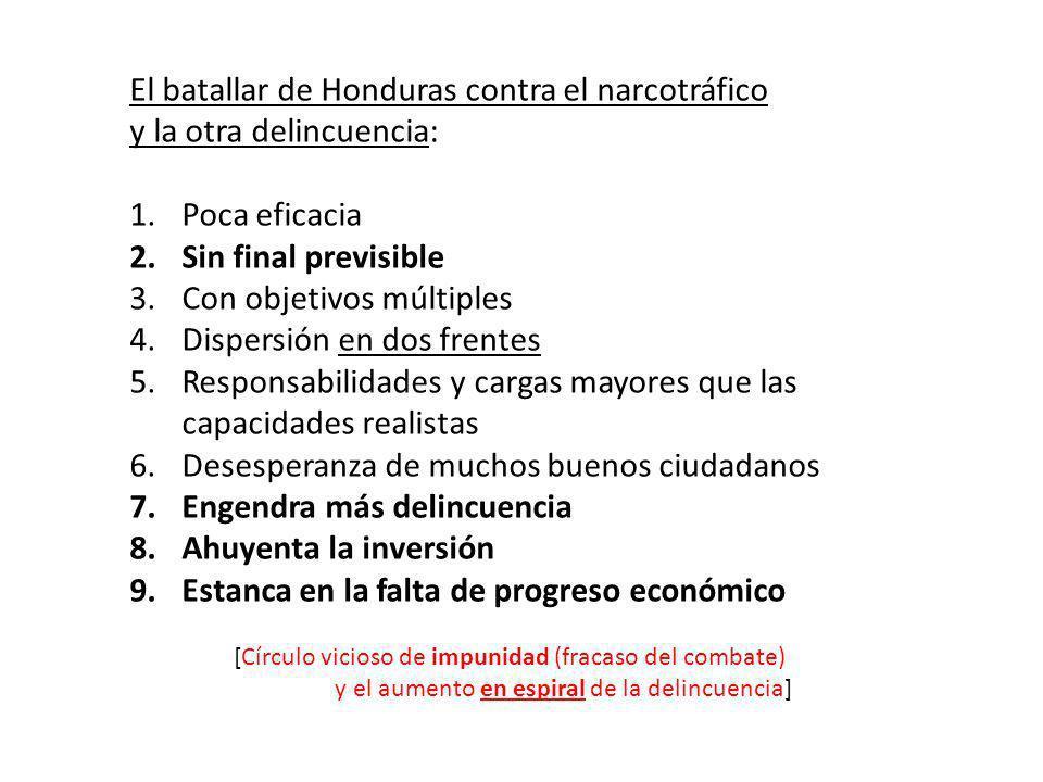 El batallar de Honduras contra el narcotráfico y la otra delincuencia: 1.Poca eficacia 2.Sin final previsible 3.Con objetivos múltiples 4.Dispersión en dos frentes 5.Responsabilidades y cargas mayores que las capacidades realistas 6.Desesperanza de muchos buenos ciudadanos 7.Engendra más delincuencia 8.Ahuyenta la inversión 9.Estanca en la falta de progreso económico [Círculo vicioso de impunidad (fracaso del combate) y el aumento en espiral de la delincuencia]