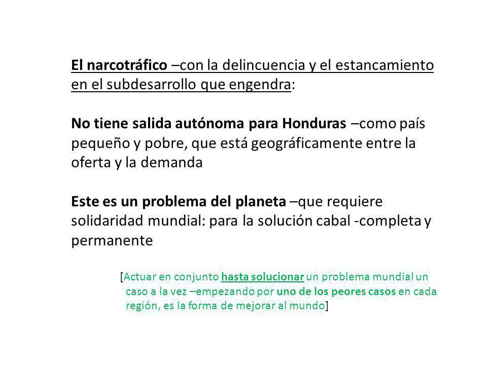 El narcotráfico –con la delincuencia y el estancamiento en el subdesarrollo que engendra: No tiene salida autónoma para Honduras –como país pequeño y