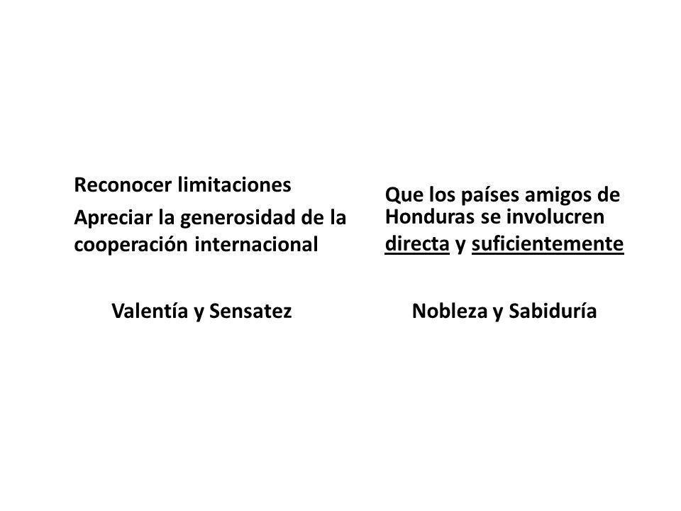 Reconocer limitaciones Apreciar la generosidad de la cooperación internacional Valentía y Sensatez Que los países amigos de Honduras se involucren dir