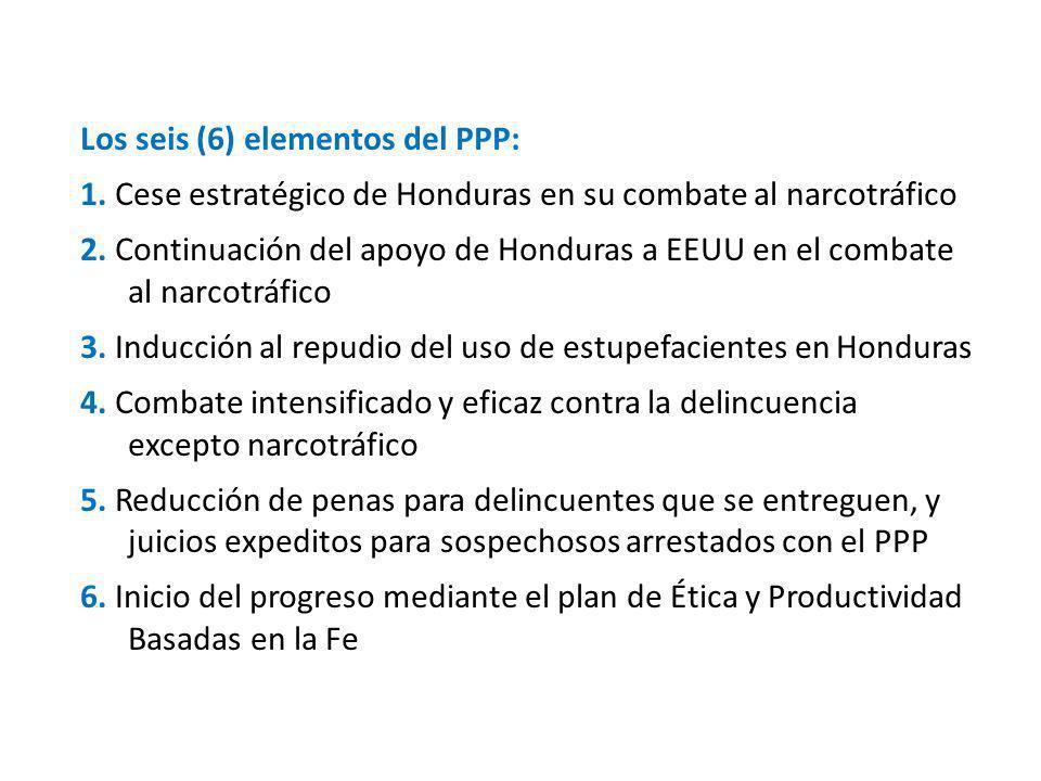 Los seis (6) elementos del PPP: 1. Cese estratégico de Honduras en su combate al narcotráfico 2.