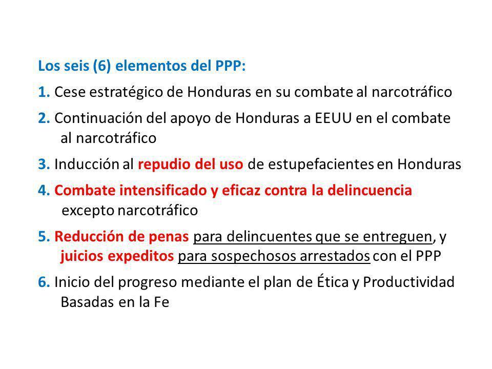 Los seis (6) elementos del PPP: 1. Cese estratégico de Honduras en su combate al narcotráfico 2. Continuación del apoyo de Honduras a EEUU en el comba