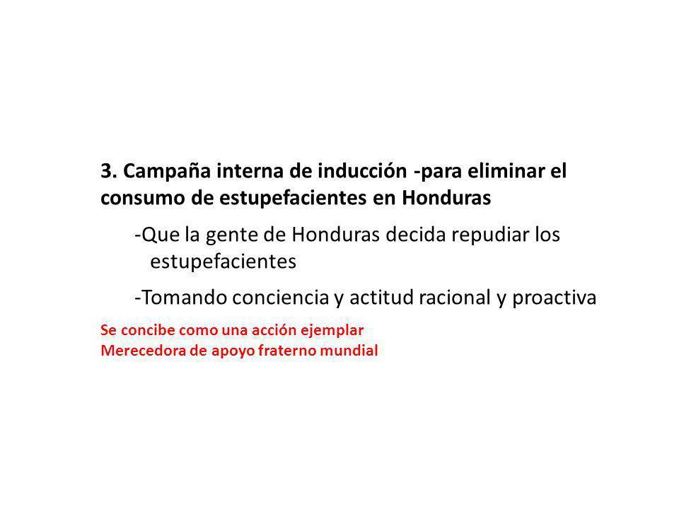 3. Campaña interna de inducción -para eliminar el consumo de estupefacientes en Honduras -Que la gente de Honduras decida repudiar los …estupefaciente