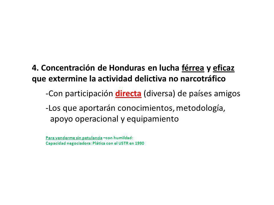 4. Concentración de Honduras en lucha férrea y eficaz que extermine la actividad delictiva no narcotráfico -Con participación directa (diversa) de paí