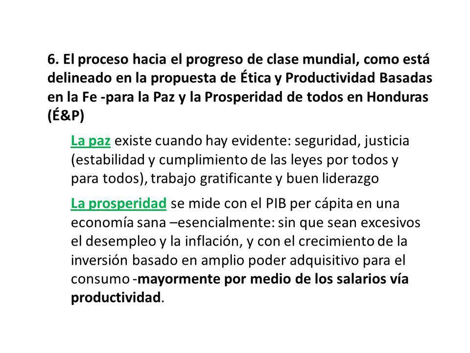 6. El proceso hacia el progreso de clase mundial, como está delineado en la propuesta de Ética y Productividad Basadas en la Fe -para la Paz y la Pros