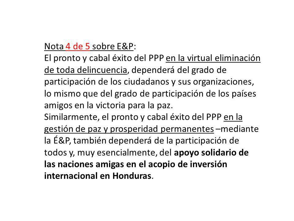 Nota 4 de 5 sobre E&P: El pronto y cabal éxito del PPP en la virtual eliminación de toda delincuencia, dependerá del grado de participación de los ciu