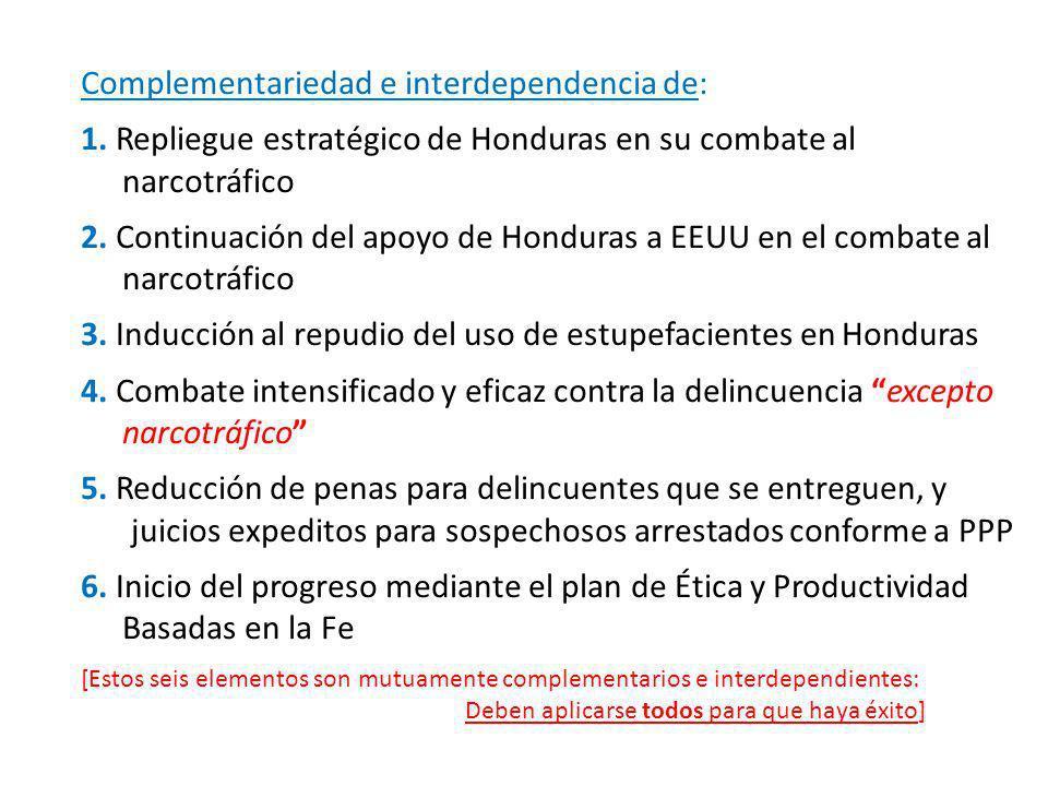 Complementariedad e interdependencia de: 1. Repliegue estratégico de Honduras en su combate al …..narcotráfico 2. Continuación del apoyo de Honduras a