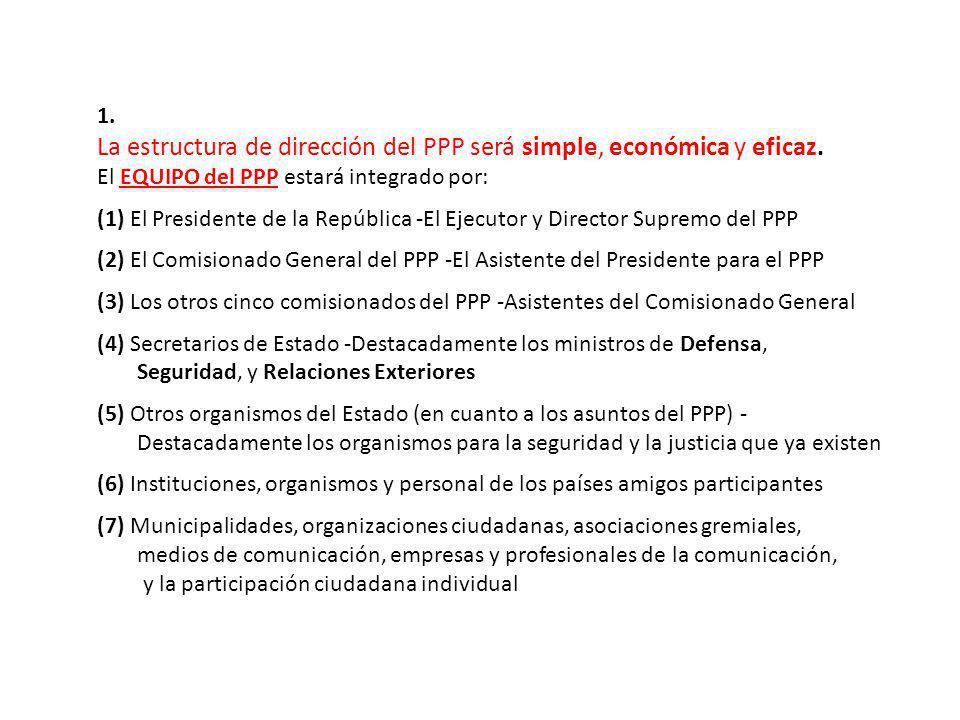 1. La estructura de dirección del PPP será simple, económica y eficaz. El EQUIPO del PPP estará integrado por: (1) El Presidente de la República -El E