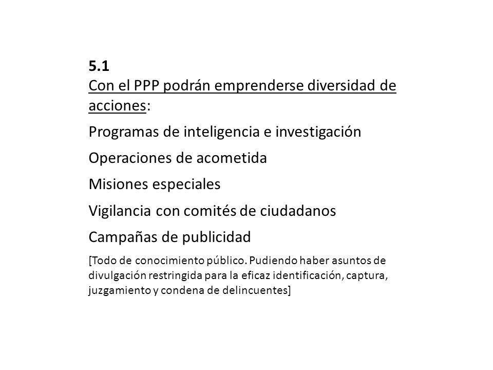 5.1 Con el PPP podrán emprenderse diversidad de acciones: Programas de inteligencia e investigación Operaciones de acometida Misiones especiales Vigilancia con comités de ciudadanos Campañas de publicidad [Todo de conocimiento público.