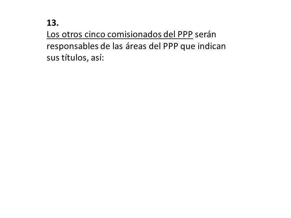 13. Los otros cinco comisionados del PPP serán responsables de las áreas del PPP que indican sus títulos, así: