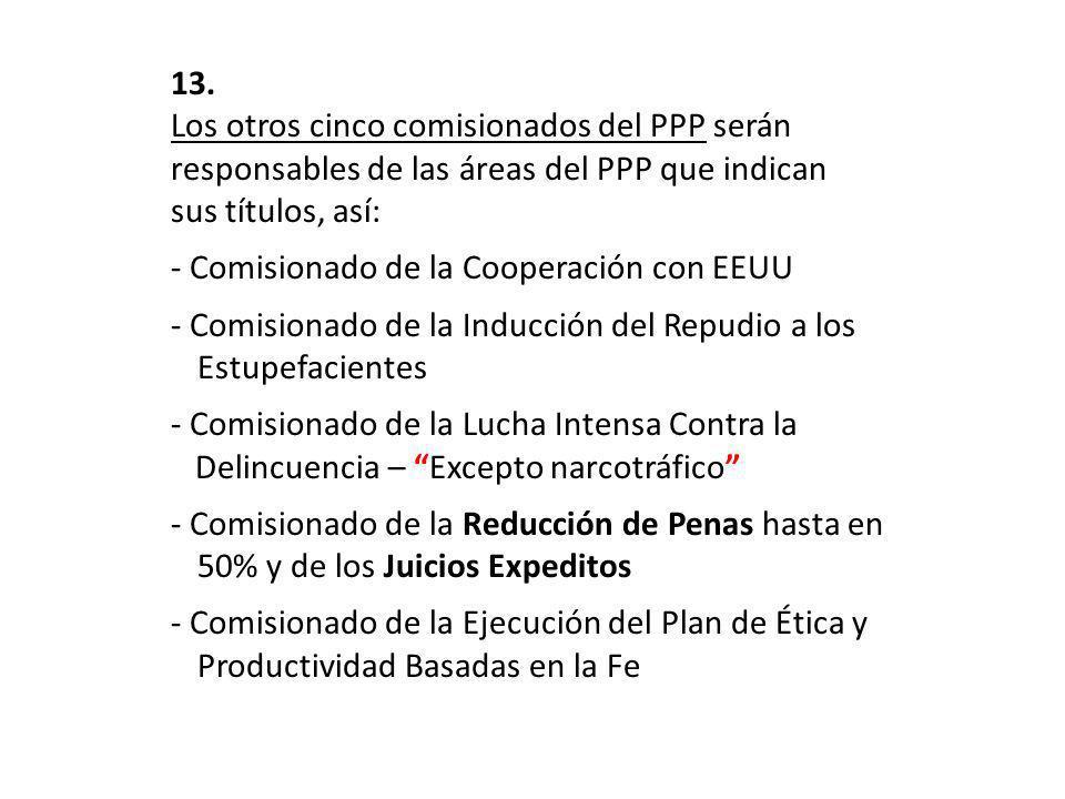 13. Los otros cinco comisionados del PPP serán responsables de las áreas del PPP que indican sus títulos, así: - Comisionado de la Cooperación con EEU