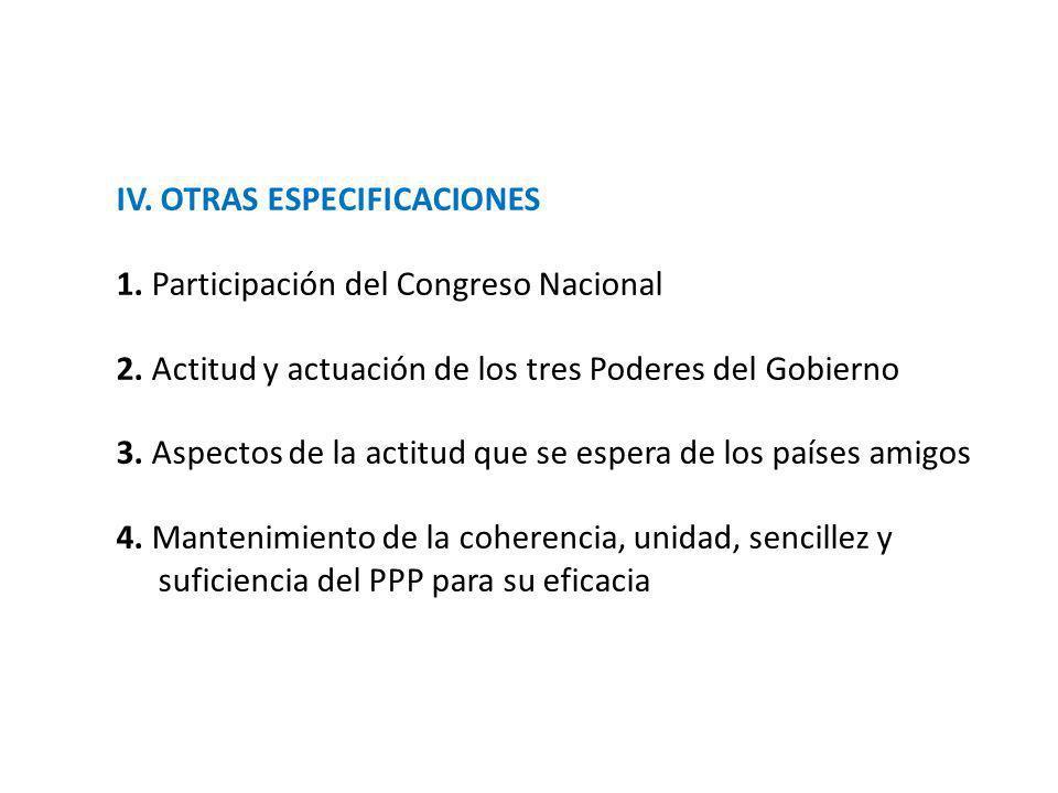 IV. OTRAS ESPECIFICACIONES 1. Participación del Congreso Nacional 2. Actitud y actuación de los tres Poderes del Gobierno 3. Aspectos de la actitud qu