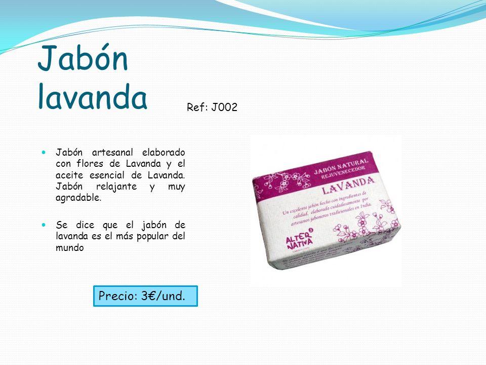 Jabón lavanda Jabón artesanal elaborado con flores de Lavanda y el aceite esencial de Lavanda. Jabón relajante y muy agradable. Se dice que el jabón d