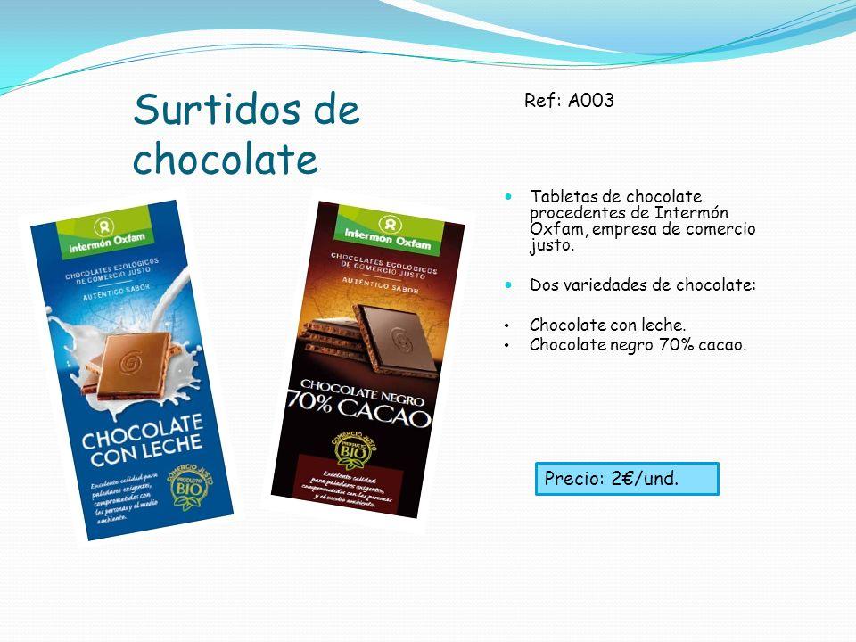 Surtidos de chocolate Tabletas de chocolate procedentes de Intermón Oxfam, empresa de comercio justo. Dos variedades de chocolate: Chocolate con leche