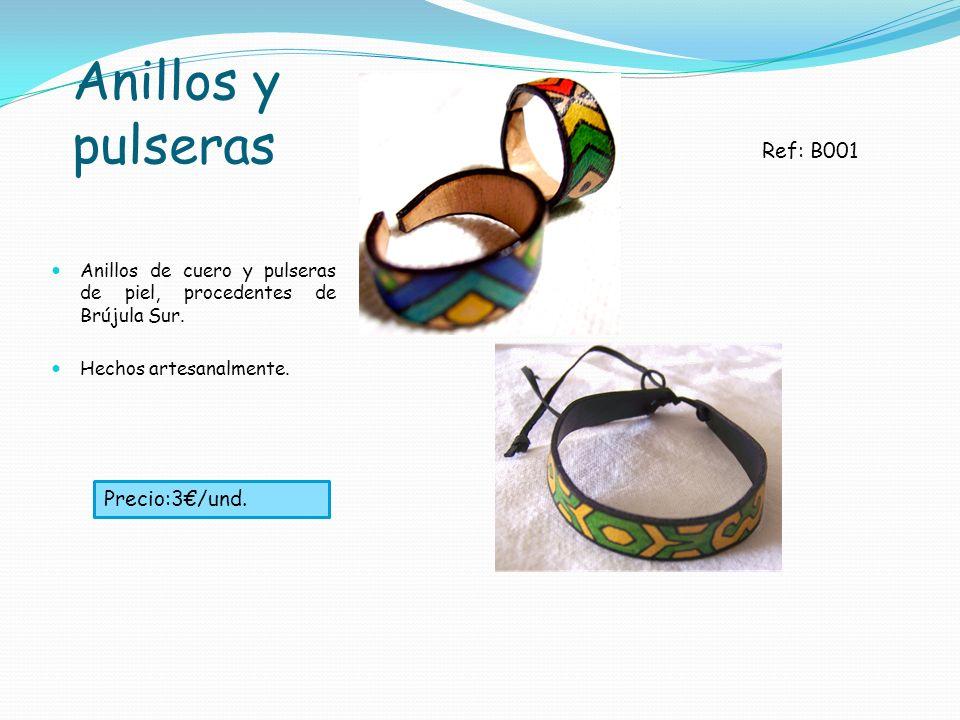 Anillos y pulseras Anillos de cuero y pulseras de piel, procedentes de Brújula Sur. Hechos artesanalmente. Ref: B001 Precio:3/und.