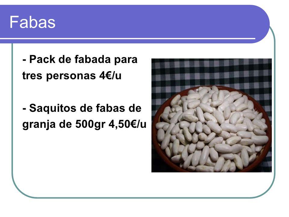 Fabas - Pack de fabada para tres personas 4/u - Saquitos de fabas de granja de 500gr 4,50/u