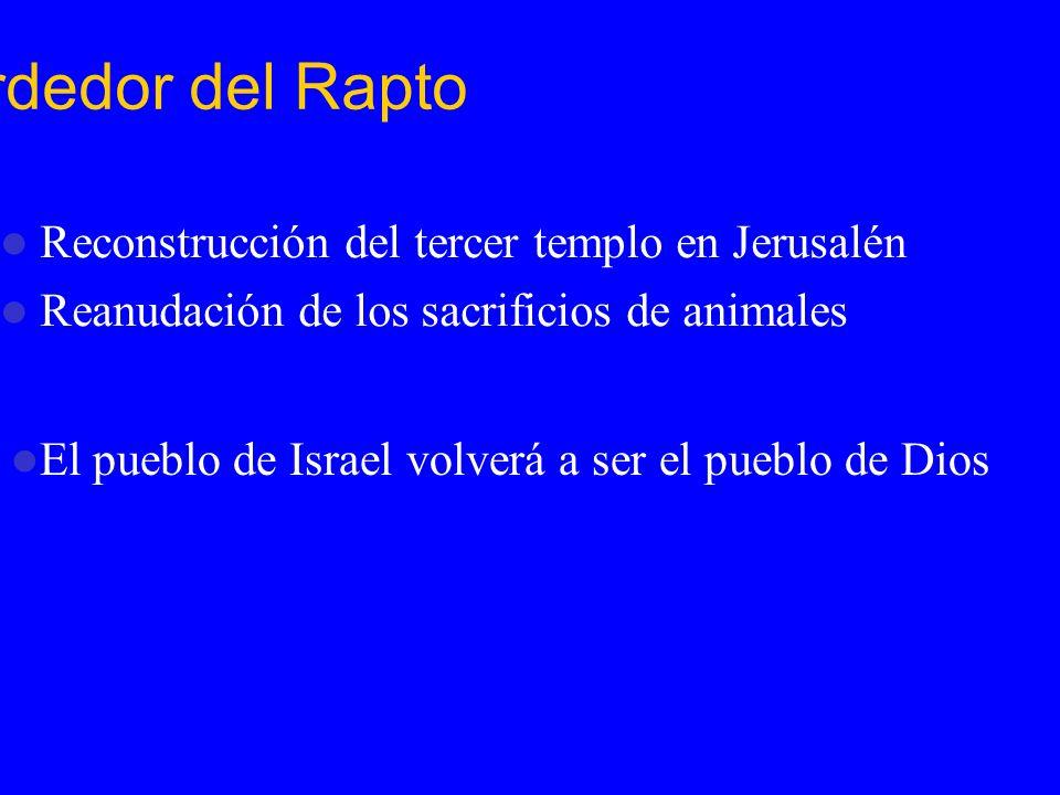 Eventos Ardedor del Rapto Reconstrucción del tercer templo en Jerusalén Reanudación de los sacrificios de animales El pueblo de Israel volverá a ser e