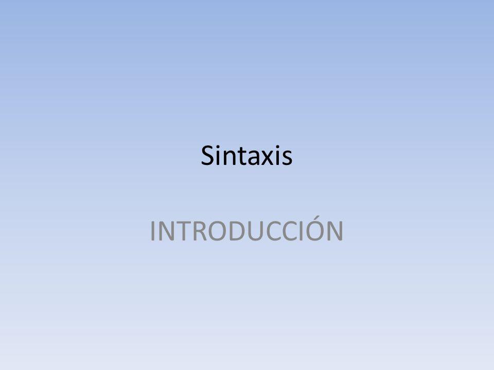 Sintaxis INTRODUCCIÓN
