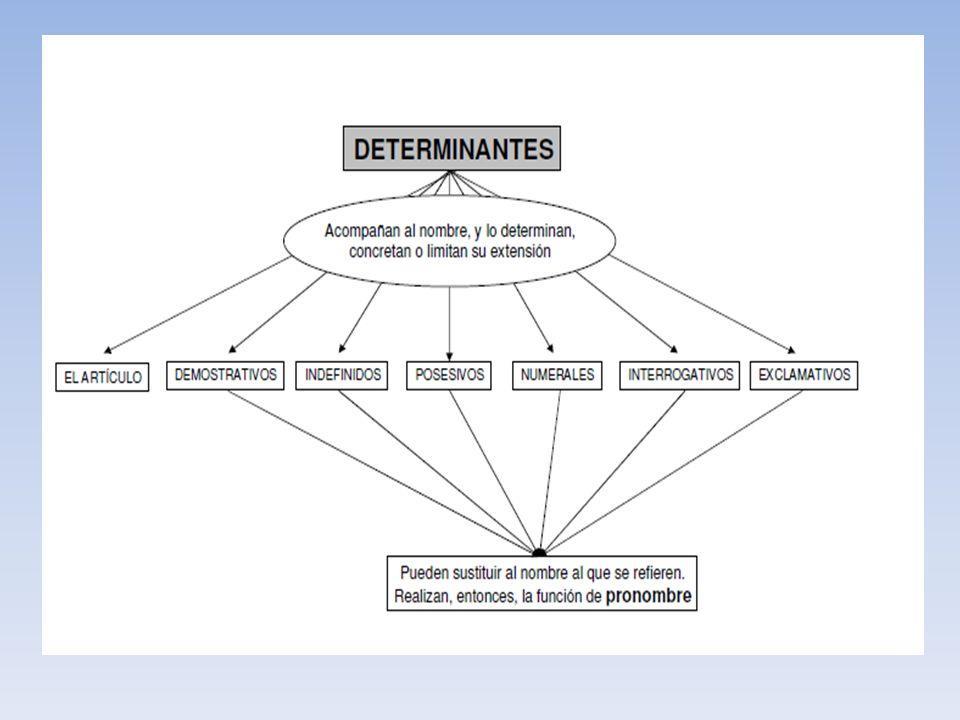 Sintagma Nominal (S.N ) DET - artículo - Adj, deter. NUC -Pronombre -Infinitivo -Palabras sustantivadas -Prop. Subd. sustantiva MOD -S. Adj. -S. Prep