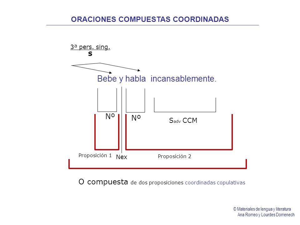 Bebe y habla incansablemente. Nº 3ª pers. sing. S Nex S adv CCM Proposición 1 Proposición 2 O compuesta de dos proposiciones coordinadas copulativas O