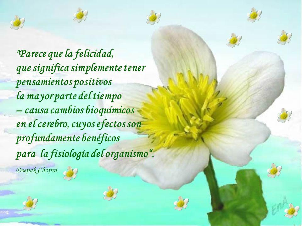 Parece que la felicidad, que significa simplemente tener pensamientos positivos la mayor parte del tiempo – causa cambios bioquímicos en el cerebro, cuyos efectos son profundamente benéficos para la fisiología del organismo.