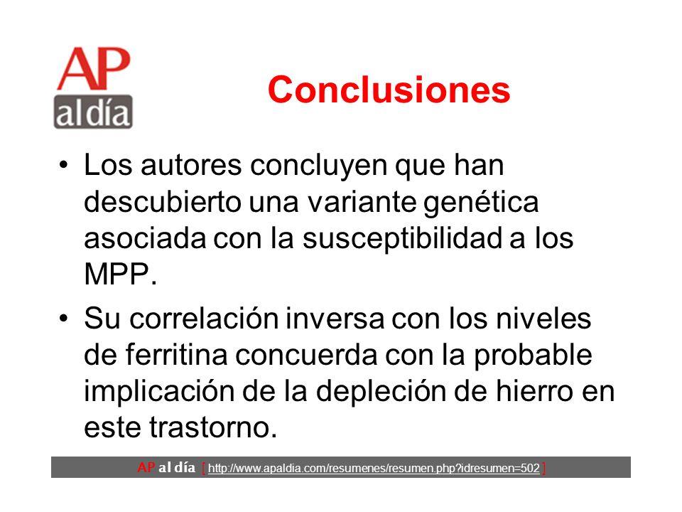AP al día [ http://www.apaldia.com/resumenes/resumen.php?idresumen=502 ] Resultados (3) No se detectó ninguna asociación entre la presencia de la variante y la intensidad del SPI.