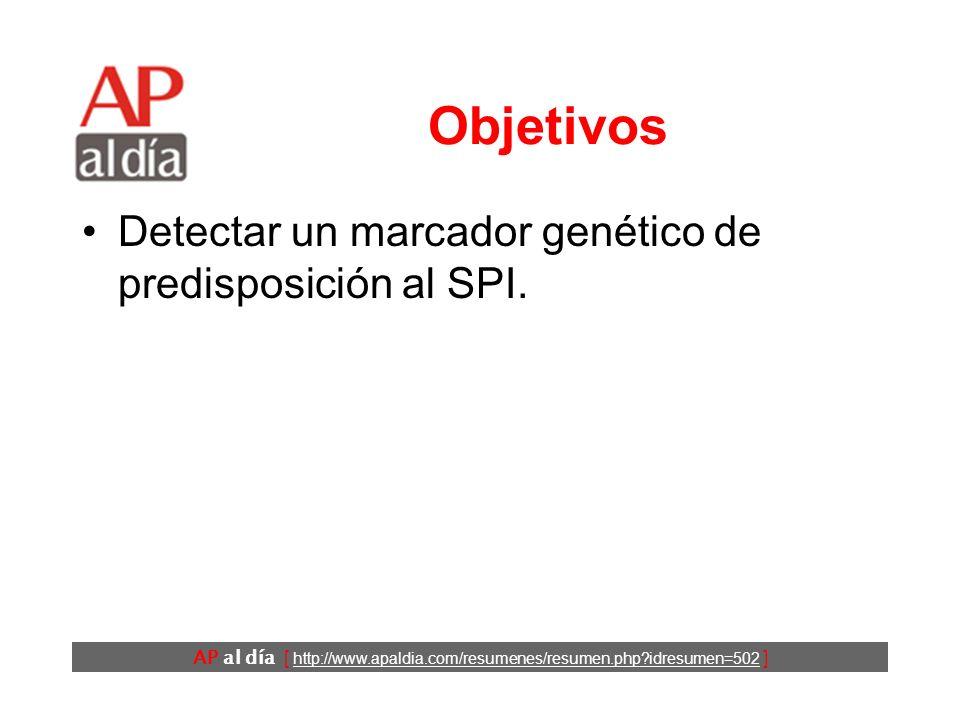 AP al día [ http://www.apaldia.com/resumenes/resumen.php idresumen=502 ] Antecedentes El síndrome de piernas inquietas (SPI) es un cuadro clínico frecuente para el que se ha descrito una predisposición familiar.