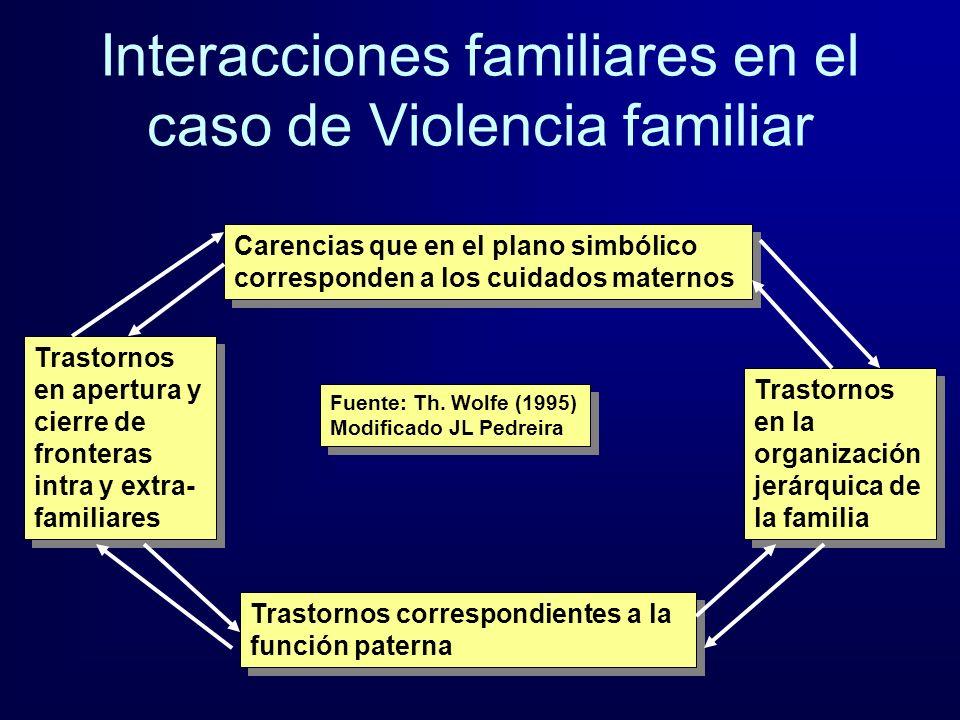 Interacciones familiares en el caso de Violencia familiar Carencias que en el plano simbólico corresponden a los cuidados maternos Trastornos correspo
