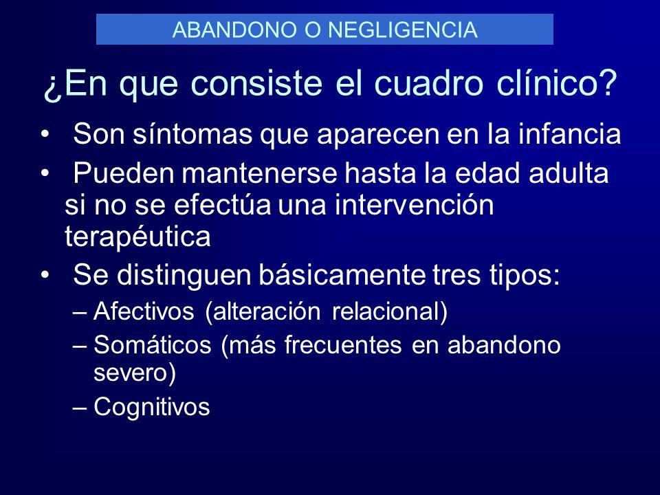 ¿En que consiste el cuadro clínico? Son síntomas que aparecen en la infancia Pueden mantenerse hasta la edad adulta si no se efectúa una intervención