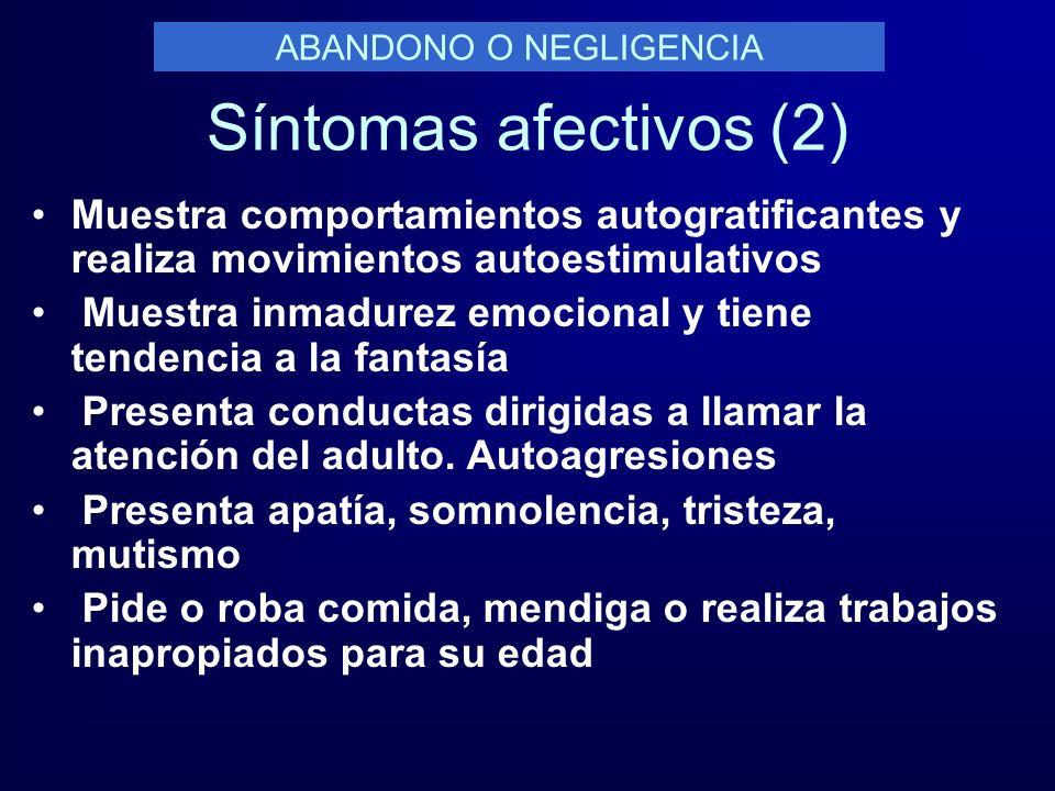 Síntomas afectivos (2) Muestra comportamientos autogratificantes y realiza movimientos autoestimulativos Muestra inmadurez emocional y tiene tendencia