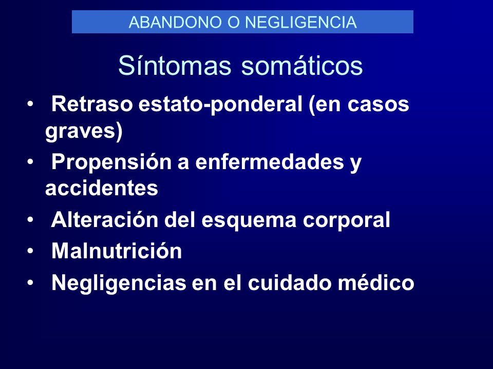 Síntomas somáticos Retraso estato-ponderal (en casos graves) Propensión a enfermedades y accidentes Alteración del esquema corporal Malnutrición Negli