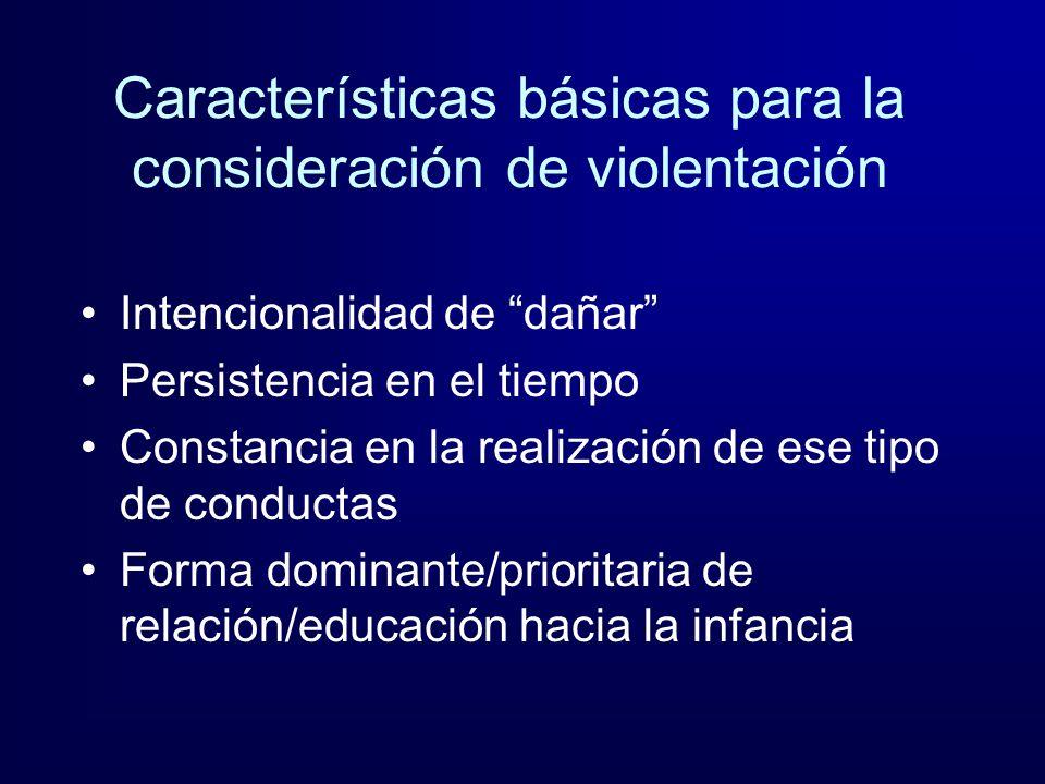 Características básicas para la consideración de violentación Intencionalidad de dañar Persistencia en el tiempo Constancia en la realización de ese t
