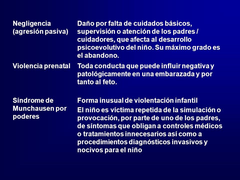 Negligencia (agresión pasiva) Daño por falta de cuidados básicos, supervisión o atención de los padres / cuidadores, que afecta al desarrollo psicoevo