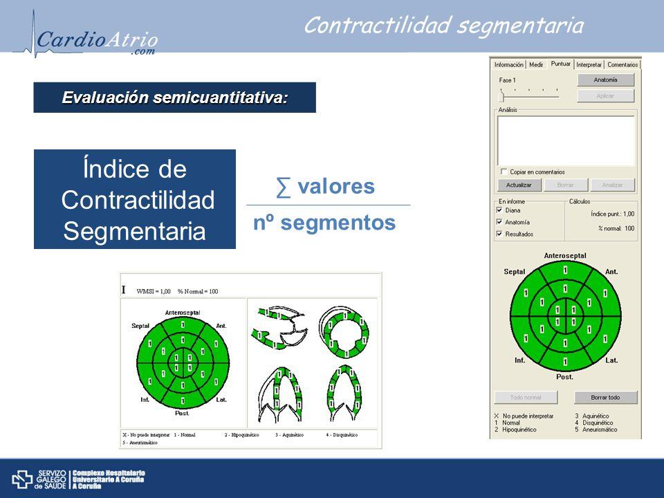 Índice de Contractilidad Segmentaria valores nº segmentos Contractilidad segmentaria Evaluaci ó n semicuantitativa: