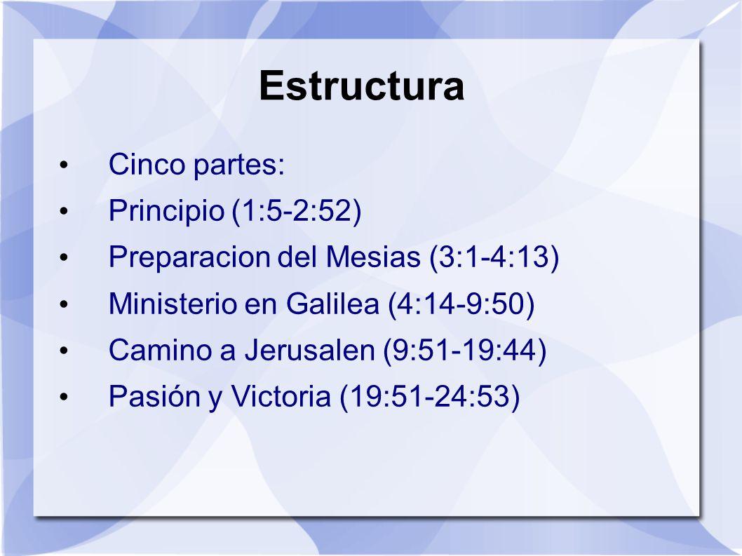 Estructura Cinco partes: Principio (1:5-2:52) Preparacion del Mesias (3:1-4:13) Ministerio en Galilea (4:14-9:50) Camino a Jerusalen (9:51-19:44) Pasi