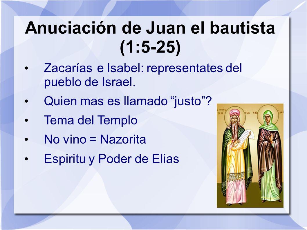 Anuciación de Juan el bautista (1:5-25) Zacarías e Isabel: representates del pueblo de Israel. Quien mas es llamado justo? Tema del Templo No vino = N