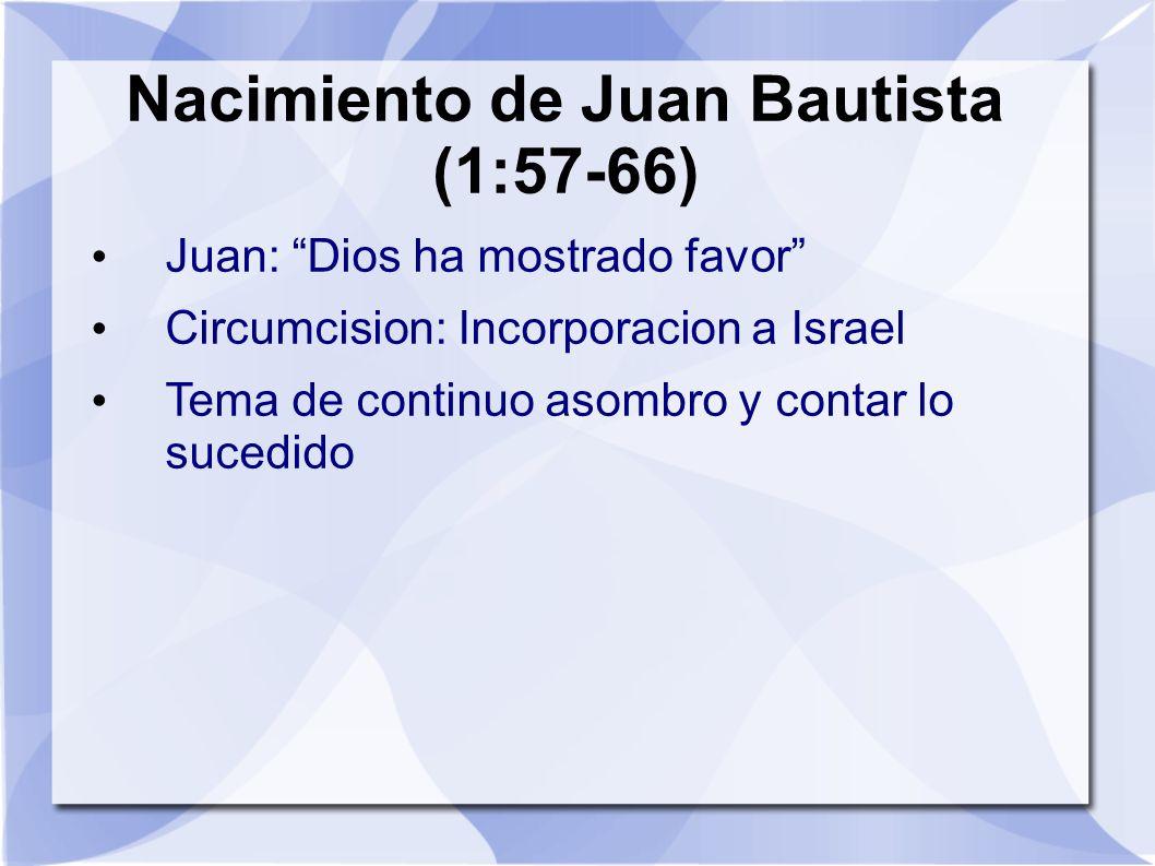 Nacimiento de Juan Bautista (1:57-66) Juan: Dios ha mostrado favor Circumcision: Incorporacion a Israel Tema de continuo asombro y contar lo sucedido