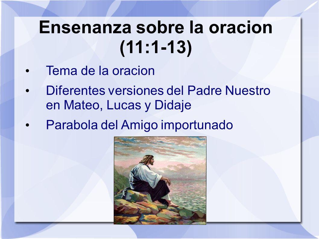 Ensenanza sobre la oracion (11:1-13) Tema de la oracion Diferentes versiones del Padre Nuestro en Mateo, Lucas y Didaje Parabola del Amigo importunado
