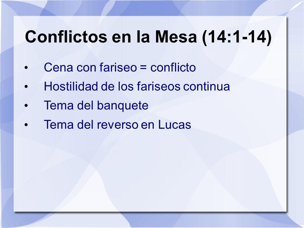 Conflictos en la Mesa (14:1-14) Cena con fariseo = conflicto Hostilidad de los fariseos continua Tema del banquete Tema del reverso en Lucas