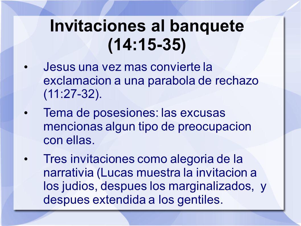 Invitaciones al banquete (14:15-35) Jesus una vez mas convierte la exclamacion a una parabola de rechazo (11:27-32). Tema de posesiones: las excusas m